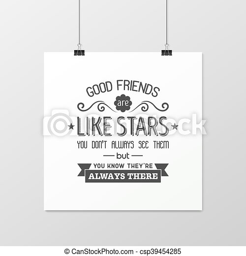 Friendship quote. Typographical Poster. - csp39454285