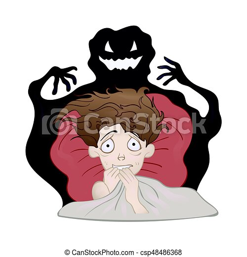 Frightened Boy in bed and the creepy shadow monster. Fear of the dark, nightmare. Vector illustration, isolated on white. - csp48486368