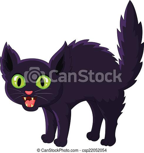 Frightened cartoon black cat - csp22052054