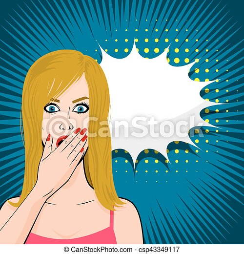 Frightened young sexy blonde girl pop art - csp43349117
