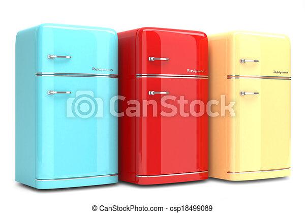 frigoriferi, colorato, retro