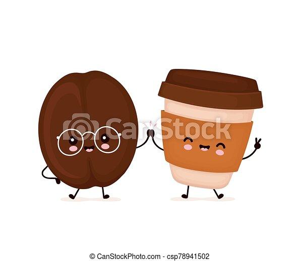 frijol, feliz, lindo, taza, sonriente, café - csp78941502