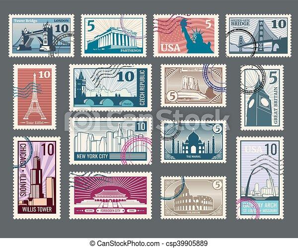 frimärke, semester, resa, arkitektur, värld, milstolpar - csp39905889