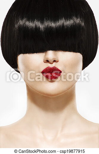 Fringe Hairstyle Beauty Girl with short Hair - csp19877915