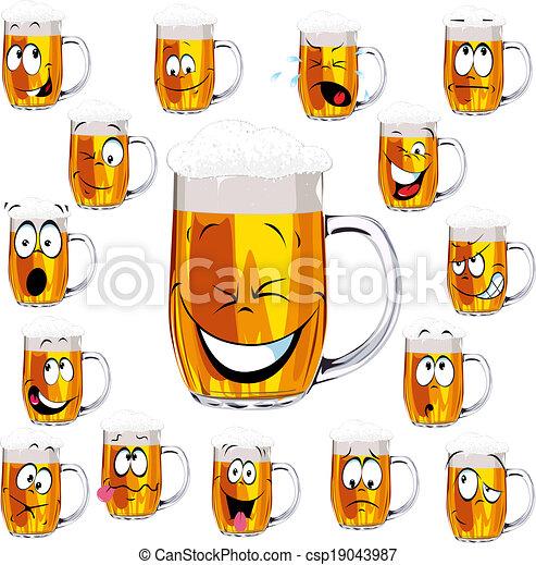 fris, mok, bier, spotprent - csp19043987