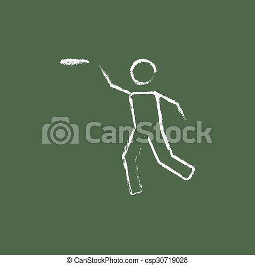 Frisbee icon drawn in chalk. - csp30719028