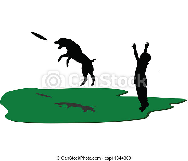 frisbee play boy and his dog playing frisbee in park clip art rh canstockphoto co uk frisbee clipart black and white frisbee clip art free