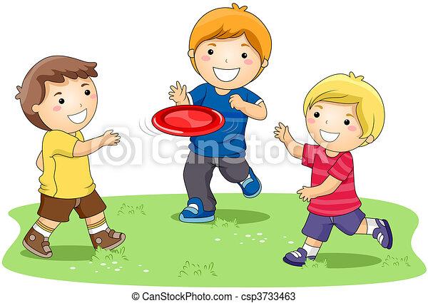 frisbee, spielende  - csp3733463