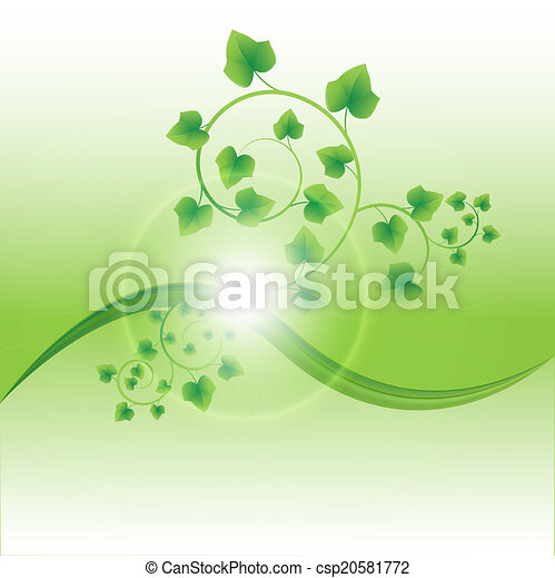 frisch, blätter, grün, zweig - csp20581772