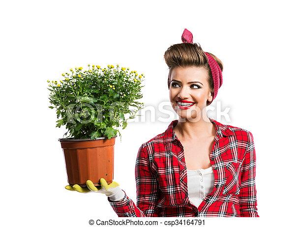 Frisur Frau Topf Nadel Auf Blume Besitz