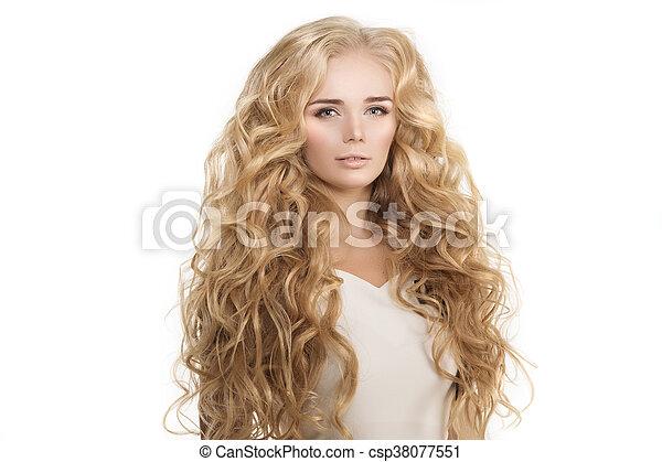 Frisur Locken Salon Langes Haar Wellen Modell Blond