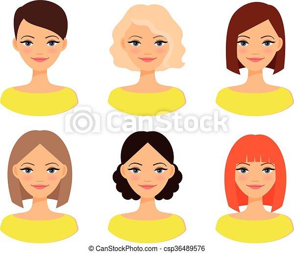 Frisuren Verschieden Womens Gesichter Verschieden Frau Farbe