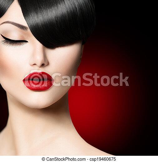 frisyr, mode, skönhet, frans, glamour, toppmodern, flicka - csp19460675