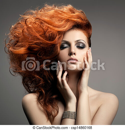 frisyr, portrait., skönhet - csp14860168