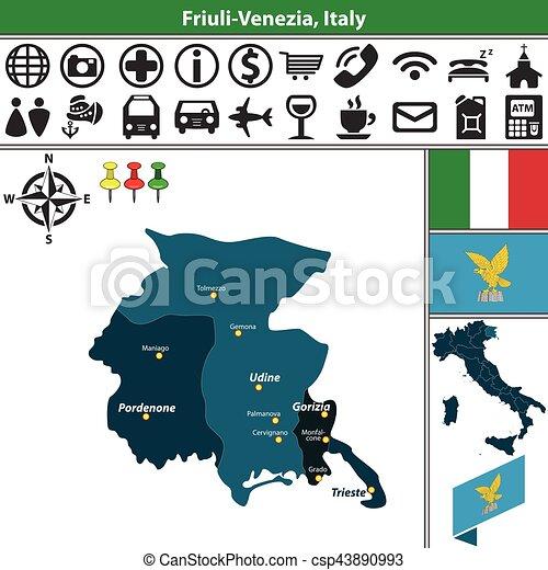 Friuli Venezia With Regions Italy Vector Map Of Friuli Venezia