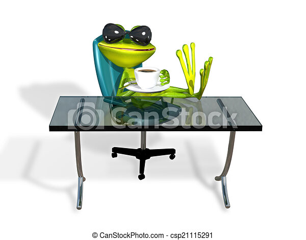Frog At A Table With Coffee   Csp21115291