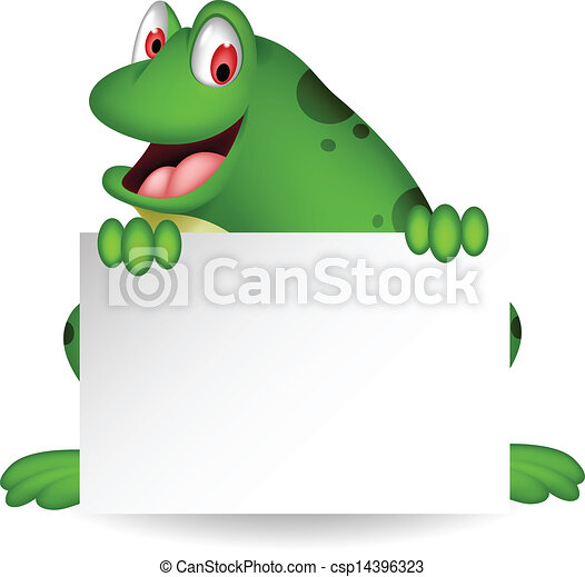 frog cartoon with blank sign - csp14396323