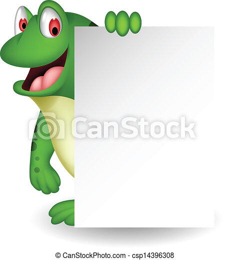 frog cartoon with blank sign - csp14396308