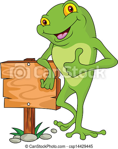 Frog cartoon with signboard - csp14429445