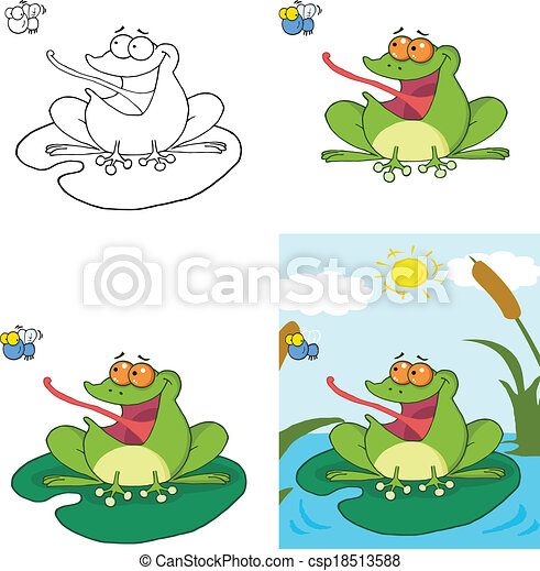 Frog Catching A Fly Collection - csp18513588