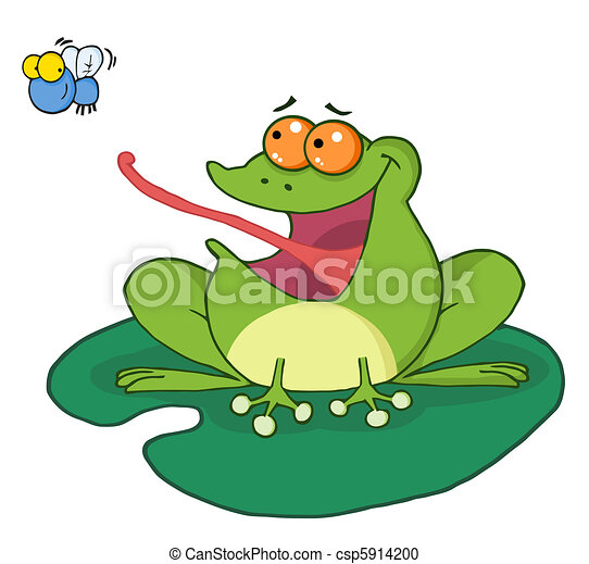 Frog Catching Bug Frog Catching Fly Cartoon Character