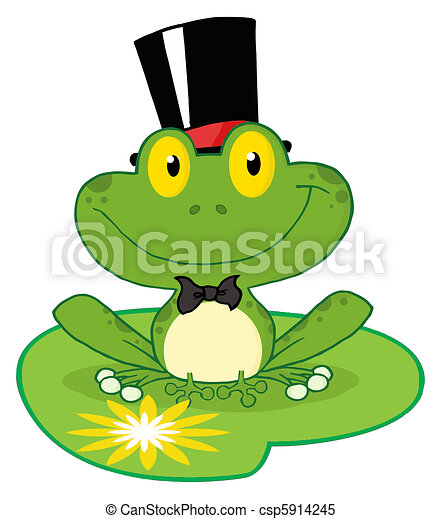 Frog Groom On A Lilypad - csp5914245