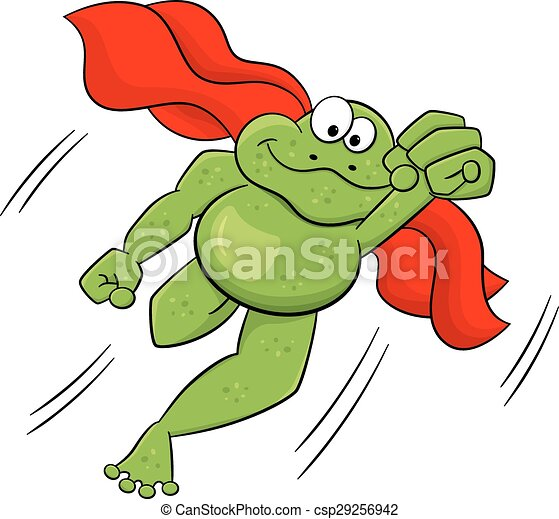 frog hero jumps with cape - csp29256942