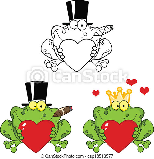 Frog Holding A Heart Collection - csp18513577