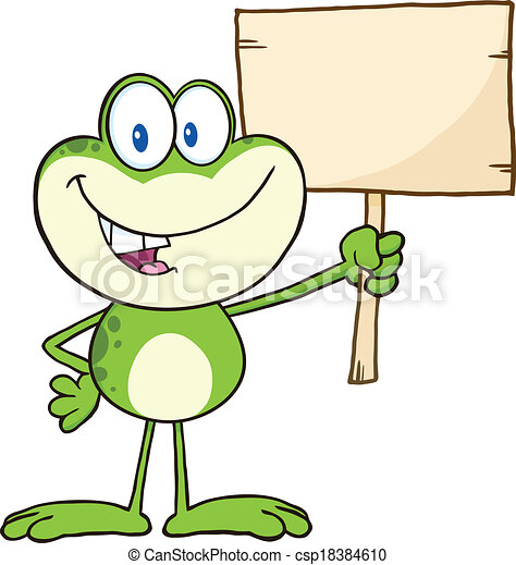 Frog Holding Up A Wood Sign - csp18384610