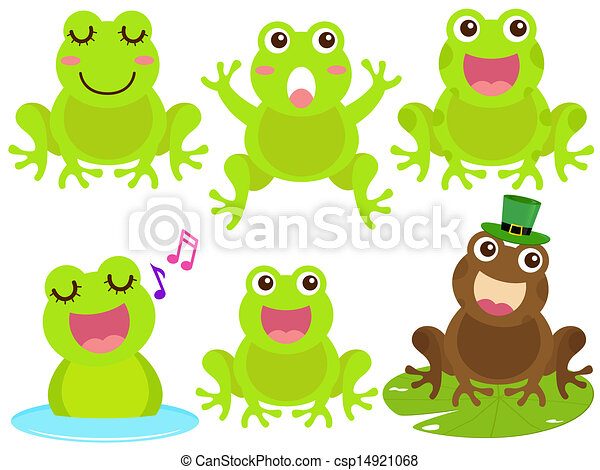 a colorful theme of cute vector icons frog in the pond rh canstockphoto com Black and White Frog Vector Tree Frog Vector