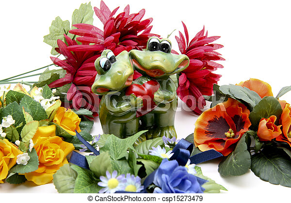 Frog pair of with heart - csp15273479
