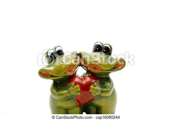 Frog pair of with heart - csp16080244