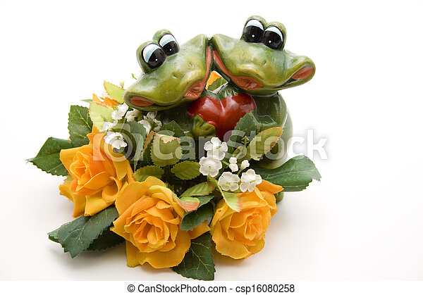Frog pair of with roses - csp16080258