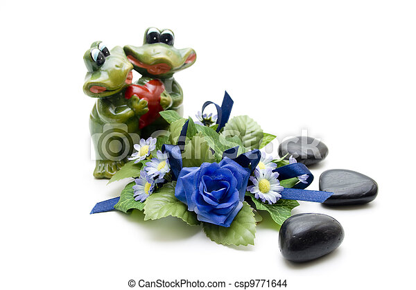 Frog pair of with roses - csp9771644