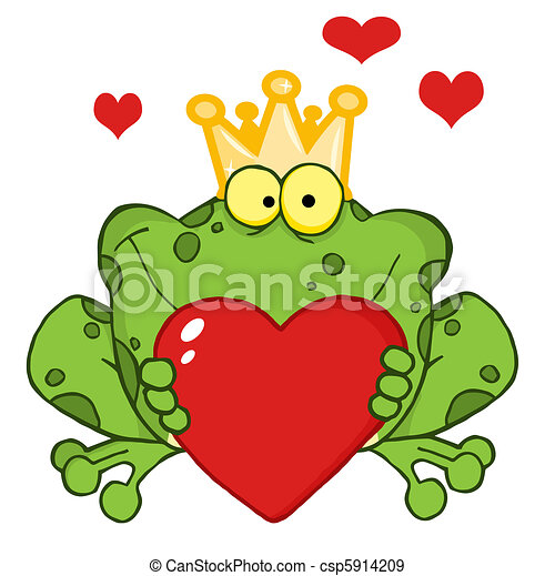Frog Prince Holding A Heart - csp5914209