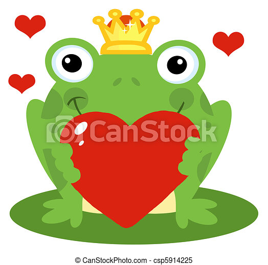 Frog Prince Holding A Red Heart - csp5914225
