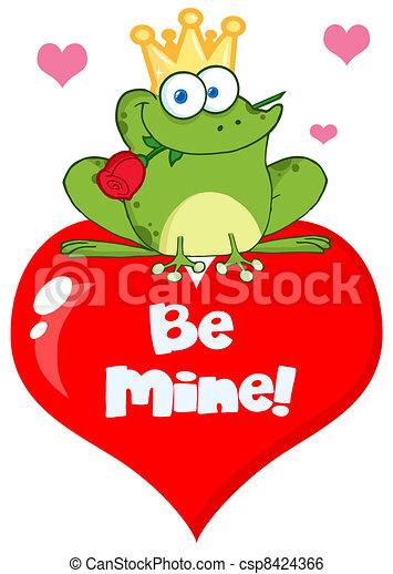 Frog Prince On A Red Heart - csp8424366