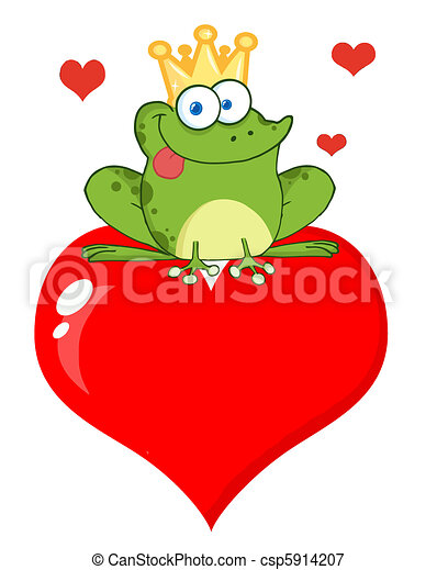 Frog Prince On A Red Heart - csp5914207