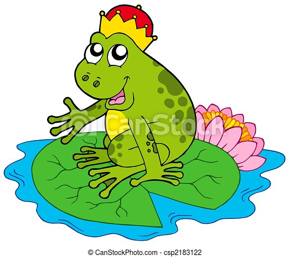 Frog prince on water lily - csp2183122