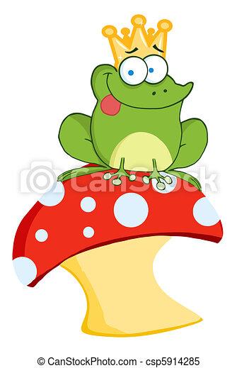 Frog Prince Sitting On A Mushroom - csp5914285