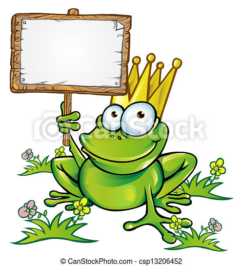 frog prince with signboard - csp13206452