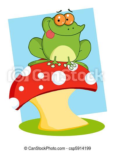 Frog Sitting On A Mushroom  - csp5914199