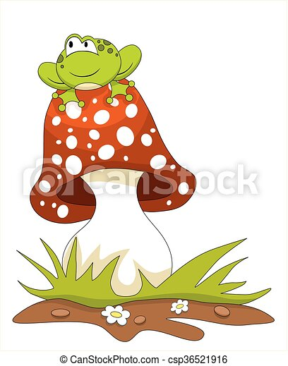 Frog sitting on a mushroom - csp36521916
