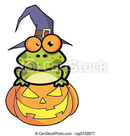 Frog With A Witch Hat In Pumpkin  - csp5152877