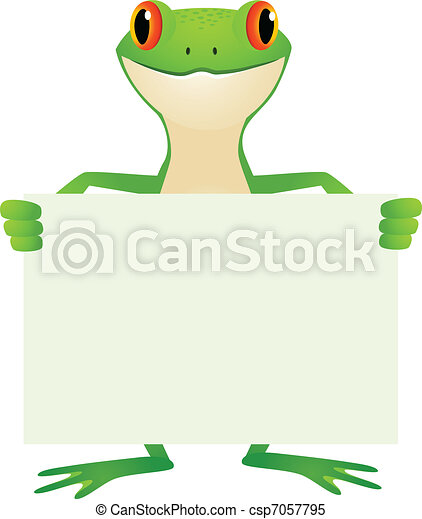 Frog with blank sign - csp7057795