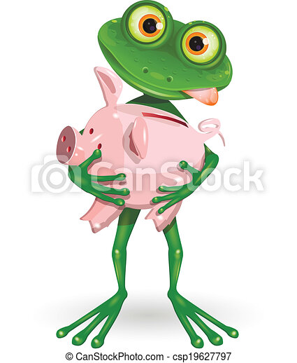 frog with piggy bank - csp19627797