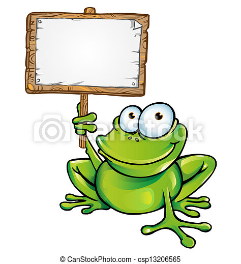 frog with signboard - csp13206565