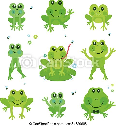 Frogs vector set. Vector illustration collection of cute ...