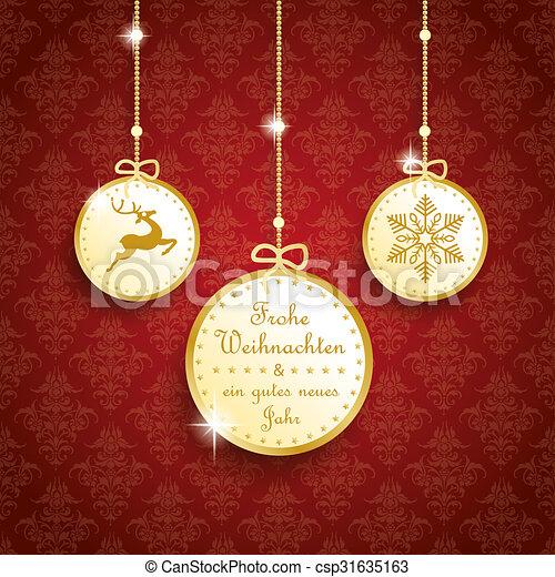 frohe weihnachten golden thaler red ornaments german text. Black Bedroom Furniture Sets. Home Design Ideas