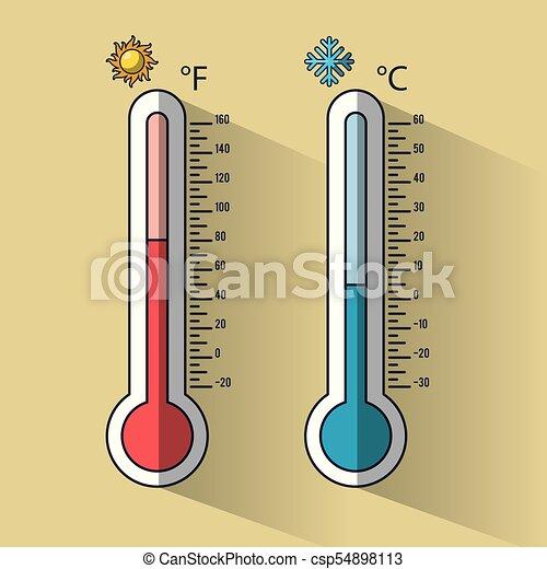 froid, thermomètre, chaud, température - csp54898113